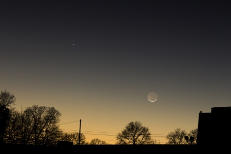 Mercury and the 2% Full Waxing Crescent Moon